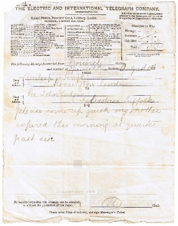 Telegram on Maharani Jind Kaurs' Death
