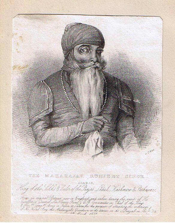 Engraving of Maharajah Ranjit Singh